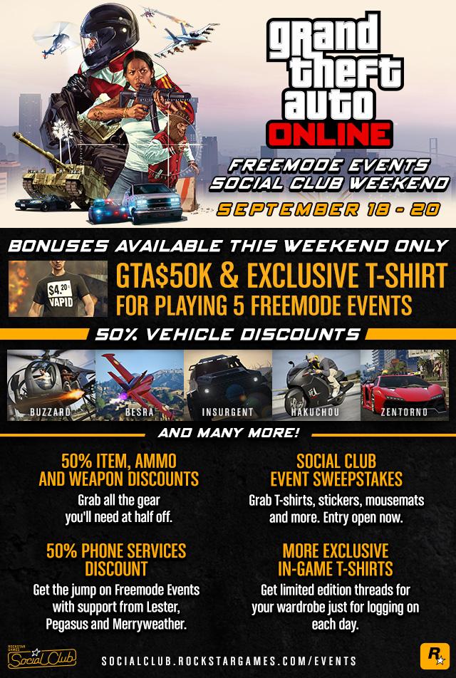 GTA Online Freemode Events Social Club Weekend